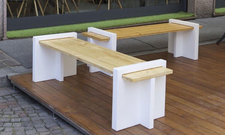 Panca plywood per l 39 arredo di giardini e spazi all 39 aperto for Panca arredo