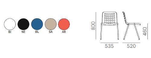 Colori e dimensioni sedia Koi-Booki