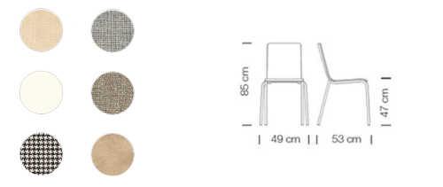 Colori e dimensioni sedia Luna