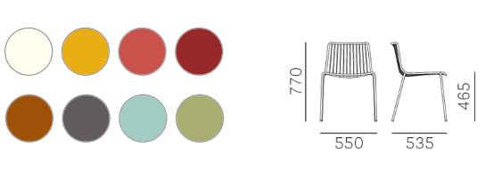 Colori e dimensioni sedia Nolita