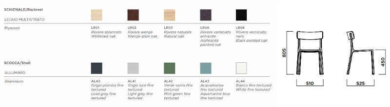 Colori e dimensioni sedia Ruelle