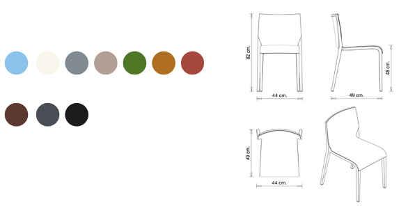Colori e dimensioni sedia nassau