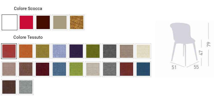 Colori, finiture e dimensioni sedia Epica