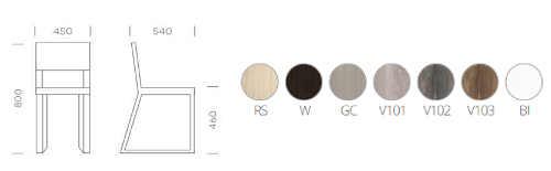 Dimensioni e colori sedia Feel