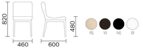 Dimensioni e colori sedia Gilda