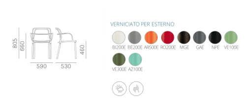 Dimensioni e colori sedia Intrigo
