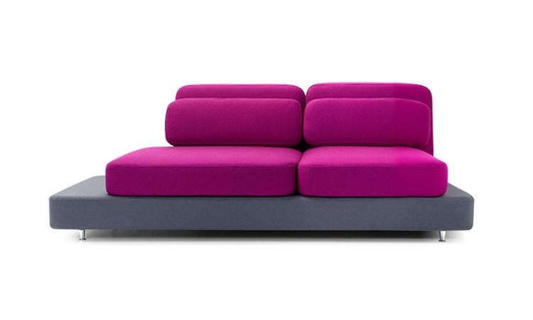 Quid divano imbottito colore rosa e grigio