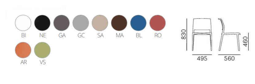 Colori, finiture e dimensioni sedia Ara
