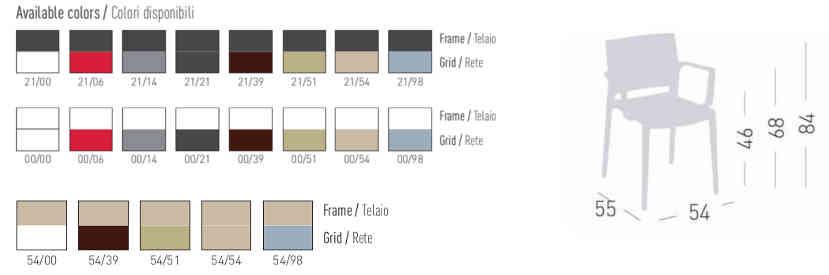 Colori, finiture e dimensioni sedia Avenica