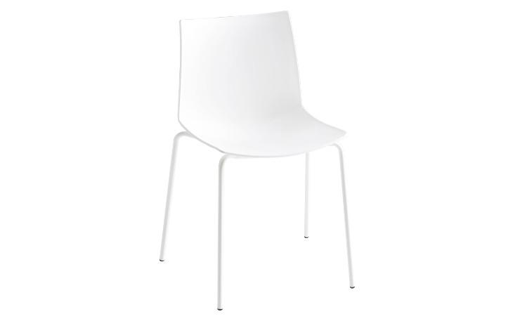 Sedia in plastica Kanvas colore bianco struttura in metallo