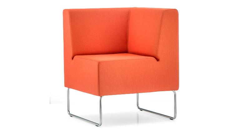 angolo seduta modulare host in pelle arancione