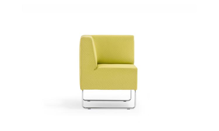 angolo seduta modulare host in tessuto giallo