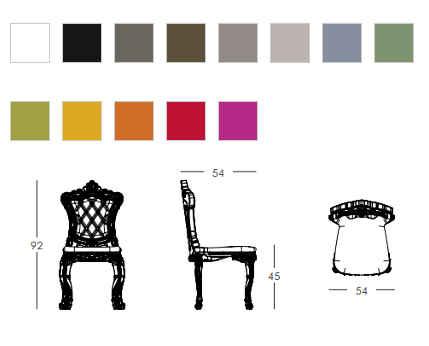 colori e dimensioni sedia PRINCESS OF LOVE