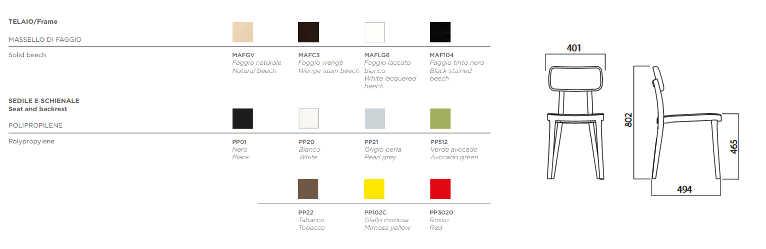 colori e dimensioni sedia Porta Venezia