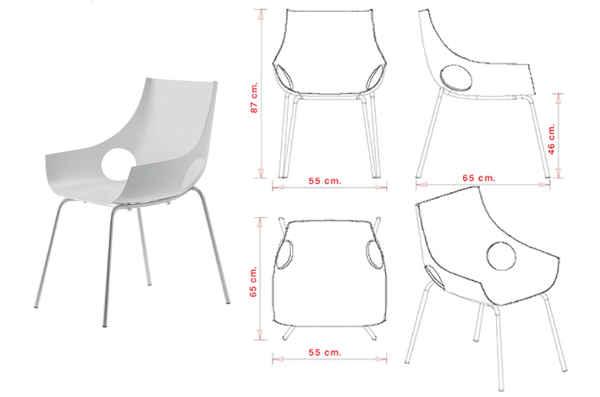 colori e dimensioni sedia Scoop
