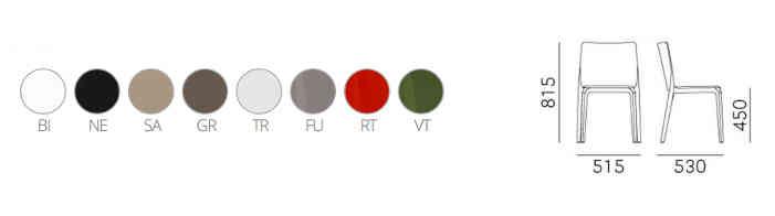 colori, finiture e dimensioni sedia Blitz