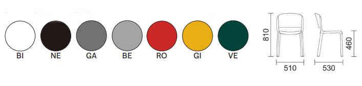 colori, finiture e dimensioni sedia Dome