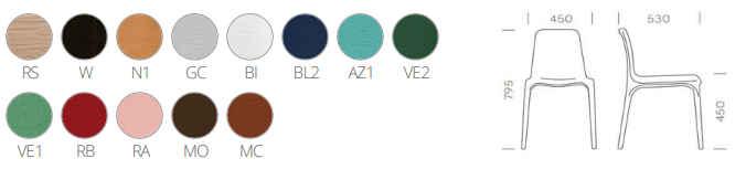 colori, finiture e dimensioni sedia Frida