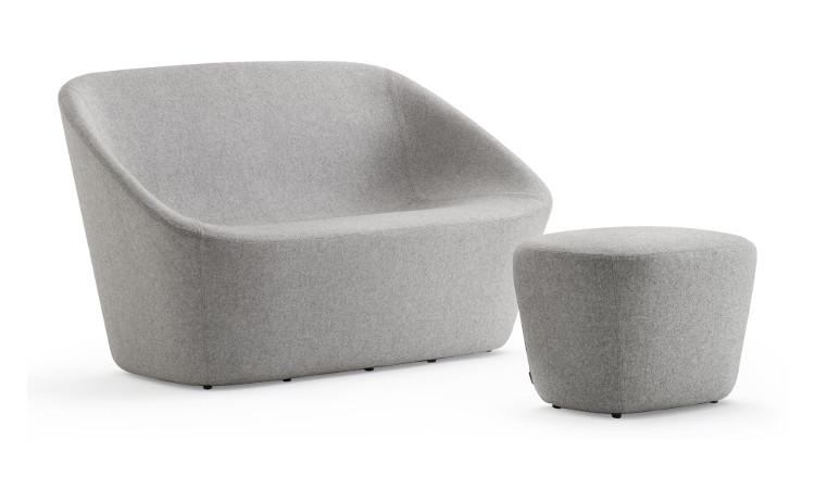 divano log con pouf colore grigio