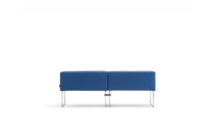 doppio pouff seduta modulare host in tessuto blu