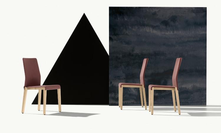 Sedia ristorante in legno, imbottita, modello Dalton