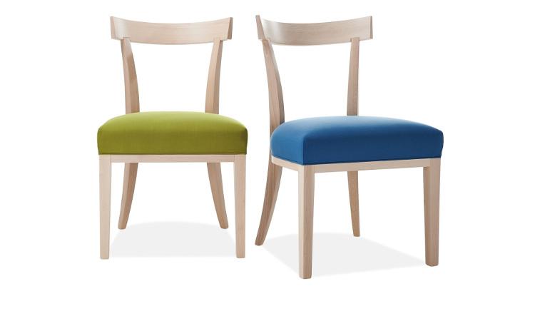 Sedia ristorante in legno con seduta imbottita, modello Victor
