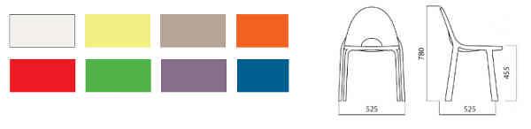 colori e dimensione sedia Drop