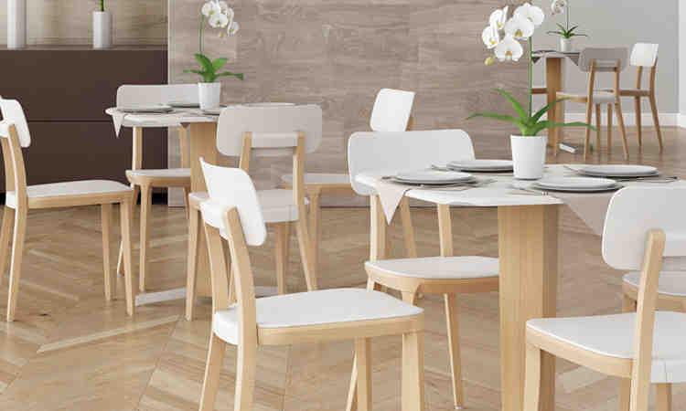 Tavolo fisso in legno per bar e ristoranti, modello Porta Venezia