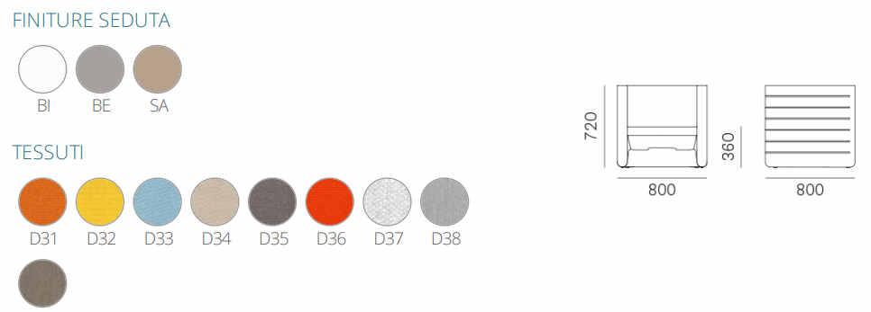 Colori e dimensioni poltrona Sunset
