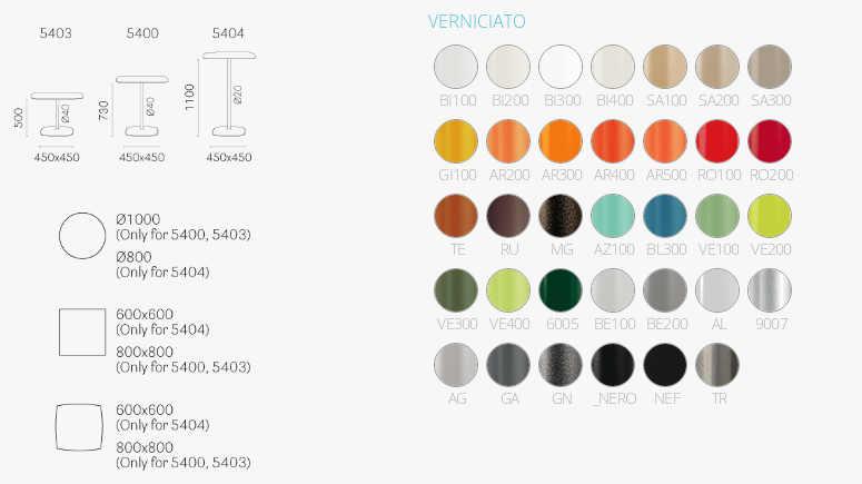 Colori e dimensioni tavolo stylus
