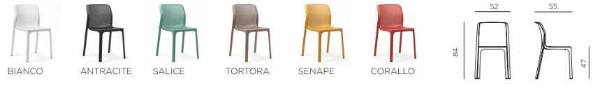 Bit, sedia moderna per l'arredo di spazi interni ed esterni