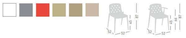 Colori e dimensioni sedia Isidora