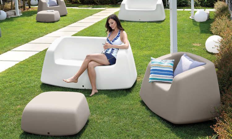 Sugar, divano moderno due posti da giardino