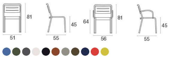Urban, sedia in alluminio per l'arredo giardino